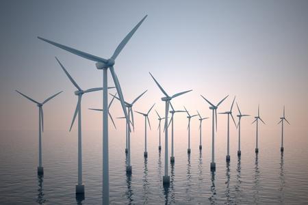 霧の朝の間に浮動小数点の風力タービンの代替エネルギー ショット。