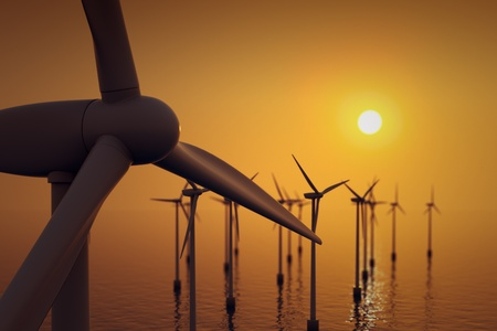 power in nature turbine: Alternative energy- close up of floating wind farm turbine at sunset.