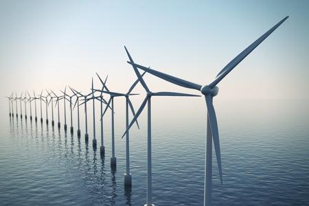 Alternative der Reihe von schwimmenden Windkraftanlagen während nebligen Morgen Energie erschossen.