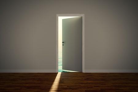open mind: View of the calm sea, seen through an slightly open door.