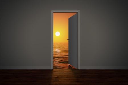 cielos abiertos: Vista del mar puesta de sol, visto a trav�s de una puerta abierta.