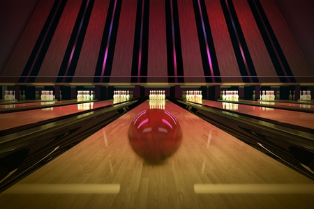 Red bowling ball is rolling on wooden lane. Ten pins are waiting for the shot. Stock Photo