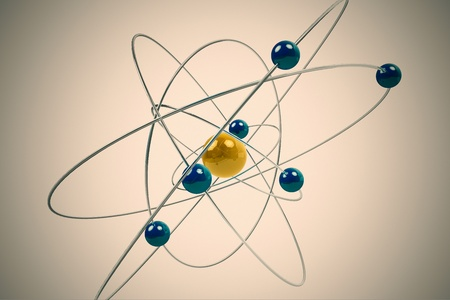 charged: Isolated 3D atom model with yellow and blue particles. The central nucleus are surrounded by a cloud of negatively charged electrons.
