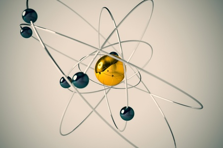 negatively: Isolated 3D atom model with yellow and blue particles. The central nucleus are surrounded by a cloud of negatively charged electrons.
