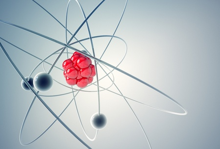 Isolated 3D atom model with red particles. The central nucleus are surrounded by a cloud of negatively charged electrons.