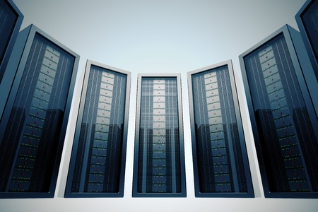 leds: Fila de servidores en rack en centros de datos montada con LEDs verdes. Foto de archivo