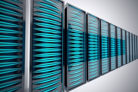 Row of futuristic rack mounted servers in data center. Bright blue LEDs. Фото со стока