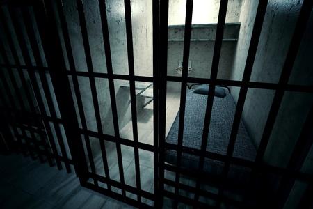 Render z zamkniętej celi na jedną osobę z łóżkiem, umywalką, WC i krzesło. Mroczny klimat.