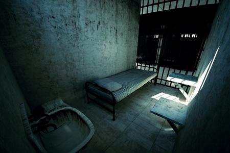 Render zamčené staré vězeňské cely pro jednu osobu s lůžkem, umyvadlem, WC a židle. Temná atmosféra.