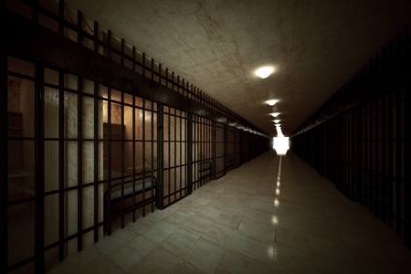 escape from prison: Prison corridor with locked old cells for one person with bed, sink, toilet and chair. Bright light in the end. Dark atmosphere.