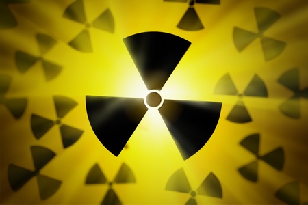 nuclear reactor: Radioactive danger symbol with a shine yellow background