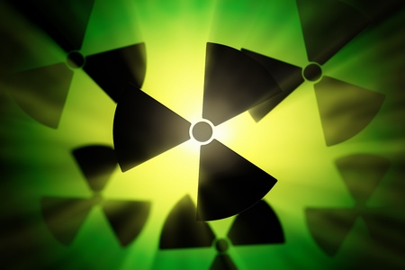 radioisotope: Radioactive danger symbol with a shine green background