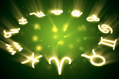All zodiac horoscopy signs in a circle on green background