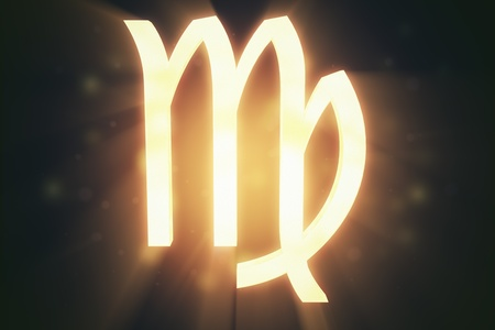 Virgo  the maiden , zodiac horoscope astrology sign with warm color glowing surface   photo