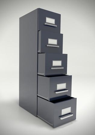 filing cabinet: Large dark grey file cabinet.