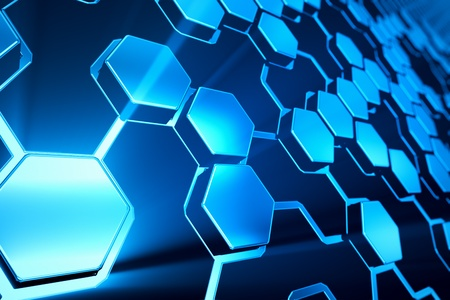 Abstract shining blue hexagonal background. Stock Photo - 19612467