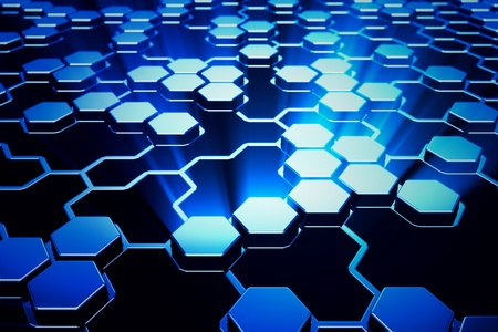 Abstract shining blue hexagonal background. Stock Photo - 19612462