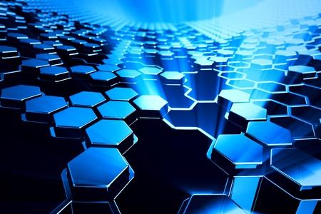 Abstract shining blue hexagonal background. Stock Photo - 19612466