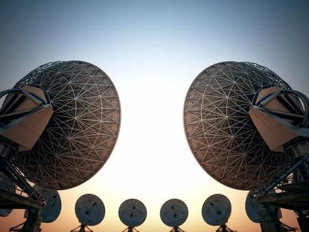 Satellite dish circle at sunset.