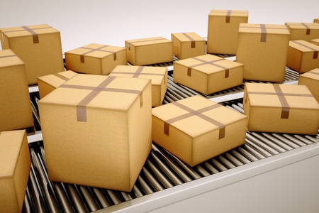 Packages are being sorted on conveyor belt.