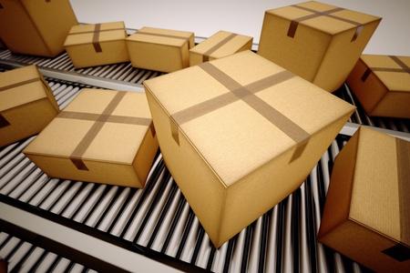 Pakete werden auf dem Förderband sortiert. Standard-Bild - 19745668