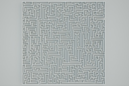 Top view of a maze on a white background. photo
