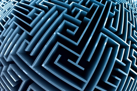 challange: Fisheye style picture of a maze with blue walls.