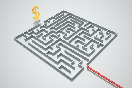Finding a way to money in a maze.