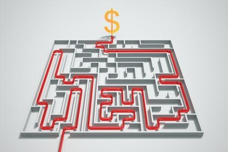 Červená šipka ukazuje cestu k penězům ve složitém bludišti.