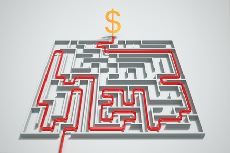 Red arrow shows a way to money in a complicated maze. photo