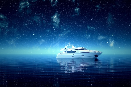 yachting: Luxurious yacht on a sea during a starry night