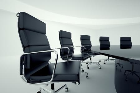 Bekijk op bureaustoelen in een directiekamer Stockfoto