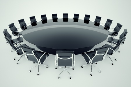 Office chairs around the table in a conference room  photo
