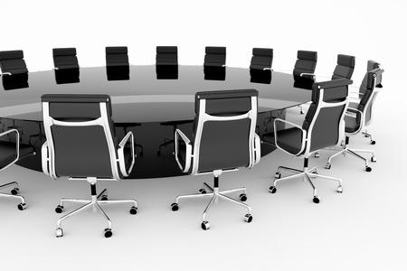 Kulatý, konferenční stolek s černými koženými křesly