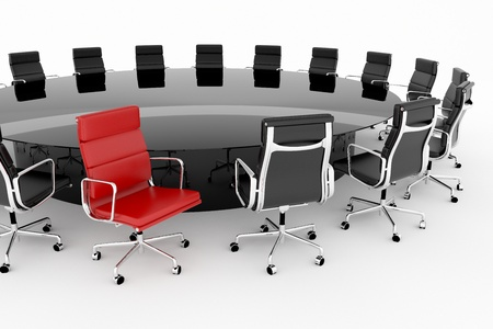 Conference table set with one red chair  Foto de archivo