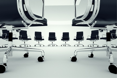 Black office chairs arranged in a circle  Archivio Fotografico