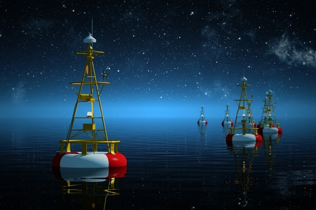 buoyancy: Buoys floating on the sea at starry night  Stock Photo