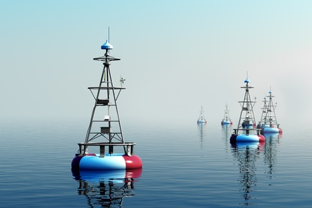 buoyancy: Sea buoys floating on the water at daylight