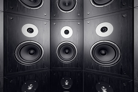 Black, wooden loudspeakers in a stack  Stock Photo - 19745705