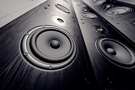 speaker system: Closeup of a black loudspeaker