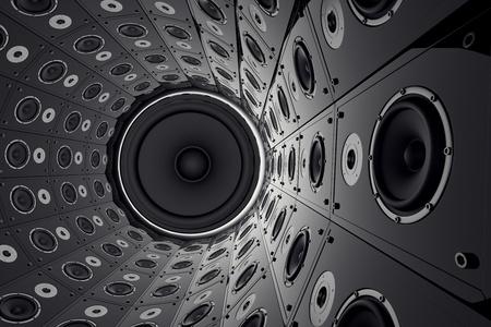 Een enorme ronde muur gemaakt van zwarte luidsprekers Stockfoto