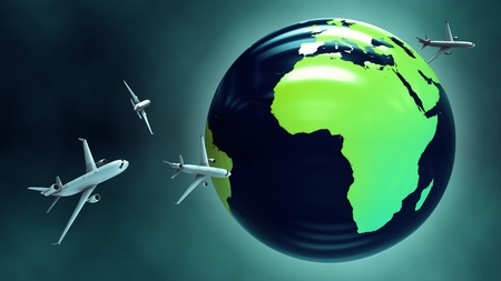 air cargo: Travel around the world by plane. Passenger aircrafts flying around the globe at night. Stock Photo