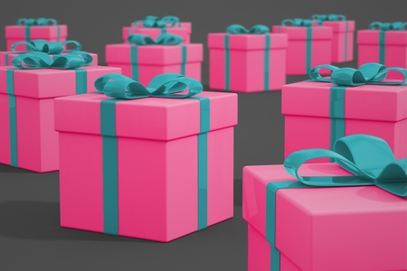 Multiple pink gift boxes decorated with blue ribbons arranged on a gray background. Perfect for birthday, anniversay or Christmas.