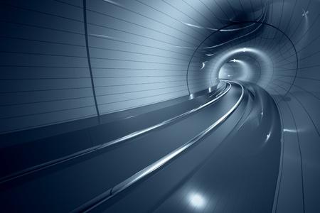 Uvnitř moderního metra chodbě. Zakřivené linie koleje. Může představovat cestování, rychlost, městské komunikace, nebo futuristické technologie.