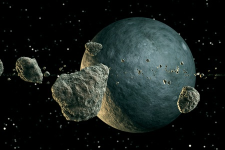 Multiple meteor lumps flying in space. Planet emerges from the darkness.  Standard-Bild