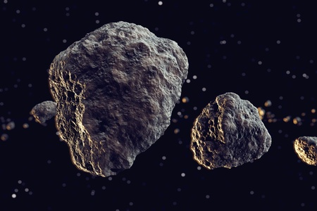 Closeup on meteor lumps in space. Dark background. Suitable for any fantasy, astronomy or space realted purposes. Standard-Bild