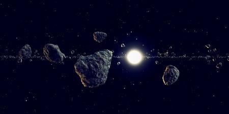태양은 공간에서 주위를 비행하는 유성의 큰 배열을 통해 빛난다. 어떤 판타지, 천문학 또는 공간 realted 목적에 적합합니다.