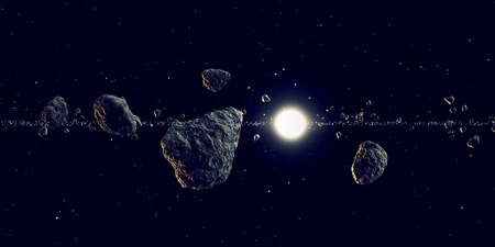 meteors: The sun shines through an large array of meteors flying around in space. Suitable for any fantasy, astronomy or space realted purposes.