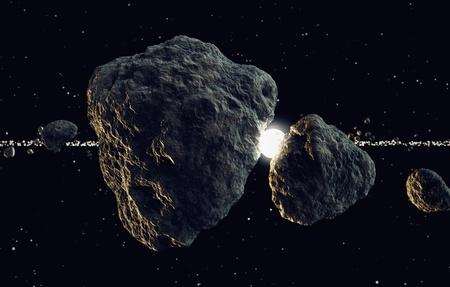 Zbliżenie na bryłach meteorów i słońce, które świeci przez w przestrzeni. Nadaje się do wszelkich fantazji, astronomii czy kosmicznych realted celów. Zdjęcie Seryjne