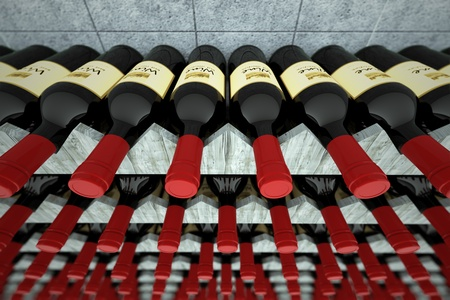 matures: Dark bottles of wine with red caps on wooden shelf. Wine matures with age in a vineyard cellars. May represent aging, good taste or restaurant. Stock Photo